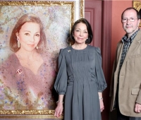 HM Queen Margarita of Bulgaria next to her portrait and Urbano Galindo