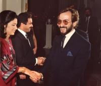 Urbano Galindo greeting the Ambassadors of Jordan Al-Adwan