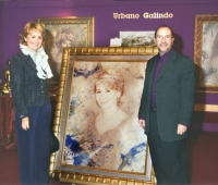 Esperanza Aguirre, President of the Community of Madrid next to her portrait and Urbano Galindo