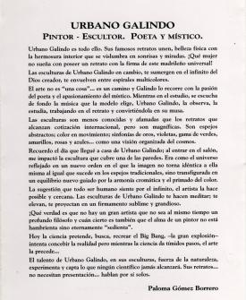 Urbano Galindo – Pintor-Escultor. Poeta y Místico