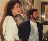 Carmen Martinez-Bordiu y Urbano Galindo en la exposición del artista en la Galería Analcai