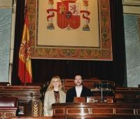 Urbano Galindo y su mujer Mª Eugenia Blázquez en el Congreso de los Diputados